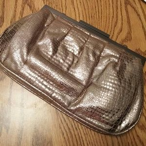 Beige-y Metallic clutch